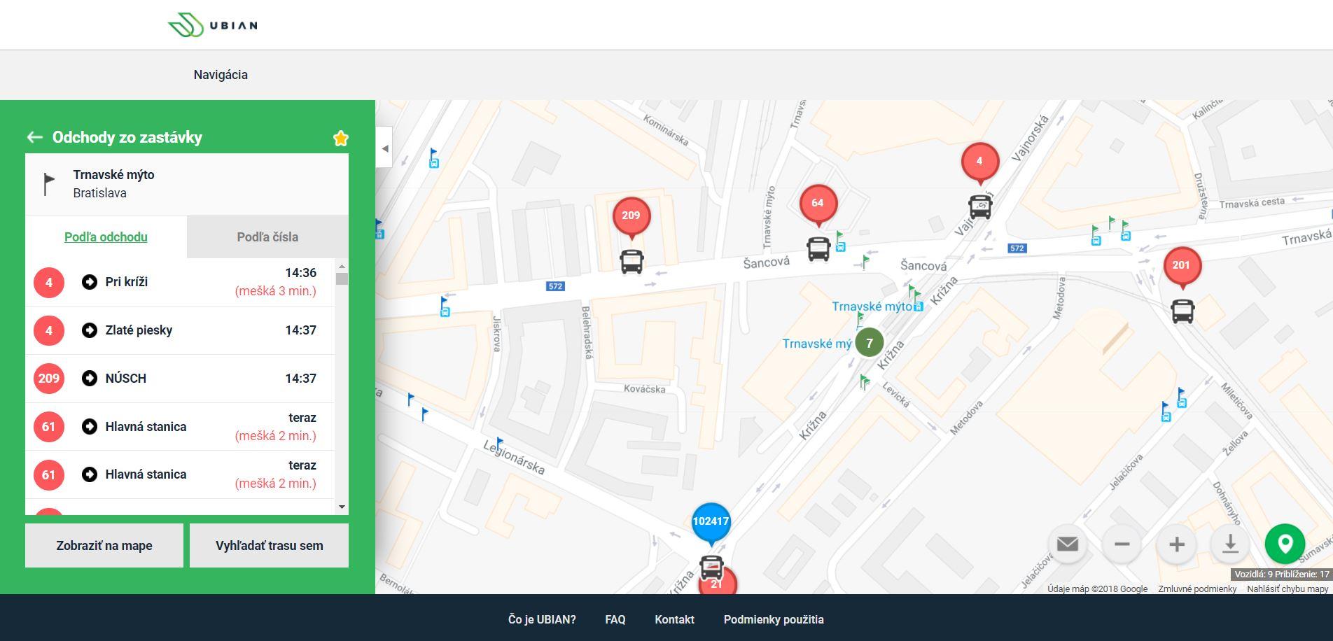 Inteligentní aplikace UBIAN od slovenské společnosti TransData, která se představila na veletrhu BUS SHOW zdravá doprava 2018 (foto: DataTrans